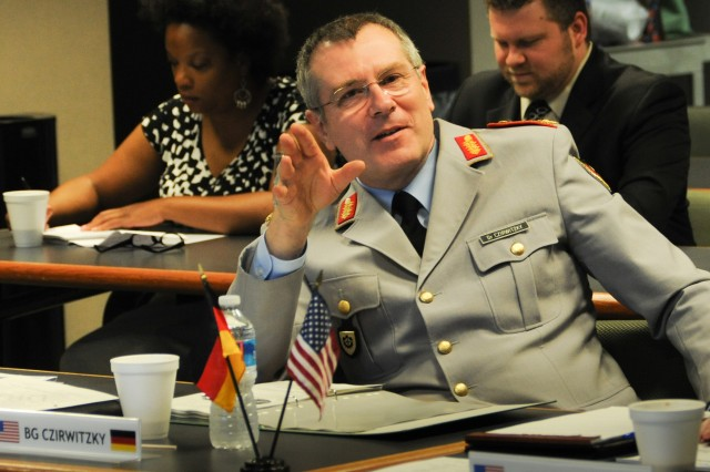 Brig. Gen. Thomas Czirwitzky, the research and technology and international affairs division head in Germany's Ministry of Defence, outlined German proposals for future science and technology collaborations during a two-day meeting with senior Army officials held at the U.S. Army Research Laboratory at Aberdeen Proving Ground, Md.