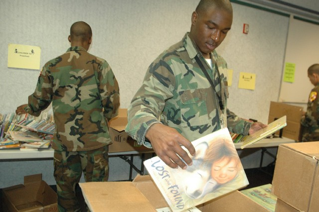 Cadets volunteer at the Edgewood branch of the Harford County Public Library March 25. All cadets who graduate from the Freestate ChalleNGe Academy must complete a minimum of 40 hours worth of public service.