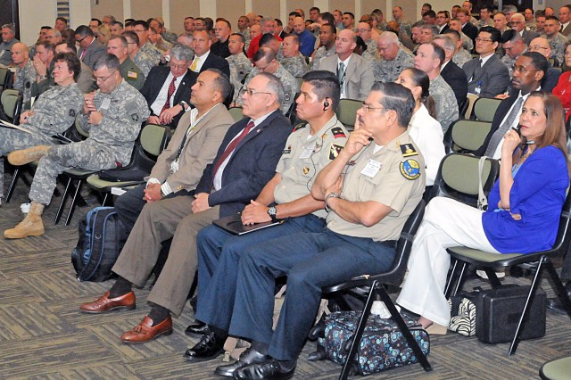 Attendees, to include delegates from the Mexican army in the front row, listen to one of the speakers talk about lessons learned from Hurricane Sandy, during the U.S. Army North (Fifth Army) hosted Hurricane Rehearsal of Concept Drill, April 9, 2013, at Blesse Auditorium on Fort Sam Houston, Texas.
