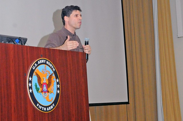 "Max Brooks, author of ""World War Z"" and guest speaker during the U.S. Army North (Fifth Army) hosted Hurricane Rehearsal of Concept Drill, at Fort Sam Houston, Texas, talks to the attendees, April 9, 2013, at Blesse Auditorium about the importance of being prepared and why their mission is so vital."