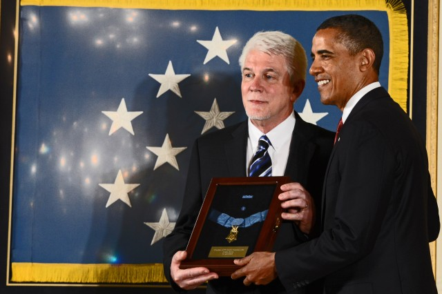 President Barack Obama awarded the Medal of Honor posthumously to Army chaplain (Capt.) Emil J. Kapaun at the White House, April 11, 2013. Here's Kapaun's nephew, Ray, accepts it on his behalf.