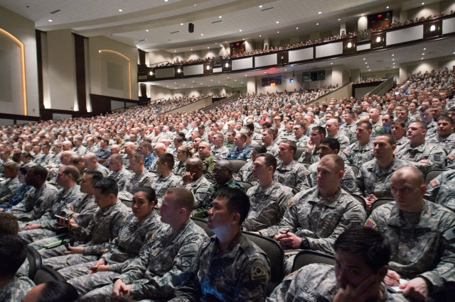 Over 2500 students of the Intermediate-Level Education listen to Army Chief of Staff Gen. Ray Odierno at the Command and General Staff School at Fort Leavenworth, Kan. April 10, 2013. Odierno spoke about the importance of developing Leaders to lead the Army into the future. (U.S. Army photo by Staff Sgt. Teddy Wade/ Released)