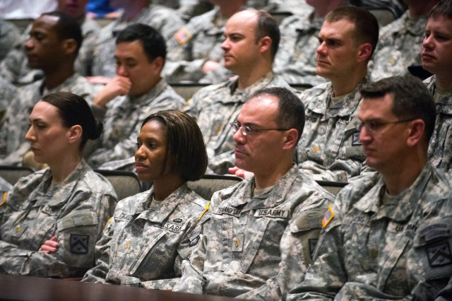 Students of the Intermediate-Level Education listen to Army Chief of Staff Gen. Ray Odierno at the Command and General Staff School at Fort Leavenworth, Kan. April 10, 2013. Odierno spoke about the importance of developing Leaders to lead the Army into the future. (U.S. Army photo by Staff Sgt. Teddy Wade/ Released)