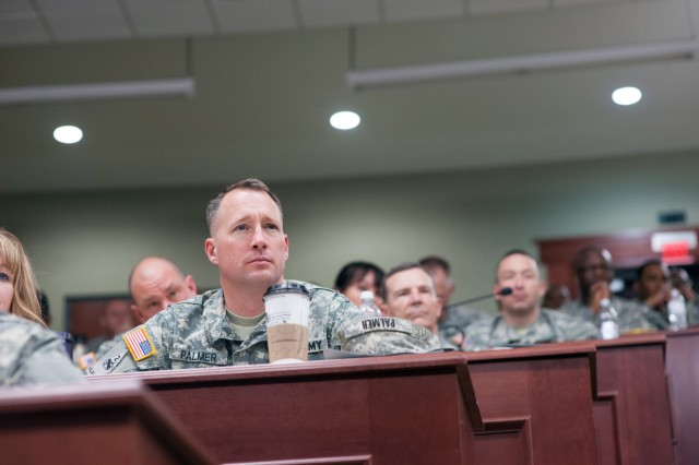 U.S. Army Battalion and Brigade Commanders, Command Sergeant Majors and their spouses attending the Pre-Command Course listen to Army Chief of Staff Gen. Ray Odierno, Sgt. Maj. of the Army Raymond F. Chandler III and their spouses at the Command and General Staff School at Fort Leavenworth, Kan. April 10, 2013. (U.S. Army photo by Staff Sgt. Teddy Wade/ Released)