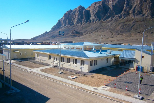 The U.S. Army Corps of Engineers oversaw construction of this Afghan Uniform Police District Headquarters which was completed March 31, 2013.  At a cost of about $4 million, this facility will accommodate 60 police officers and give them a base from which to carry out their mission of providing security to the people of the Panjwai District of Kandahar City.