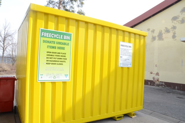 The brightly colored bin sits outside Grafenwoehr Building 441 allowing community members to make donations 24/7.