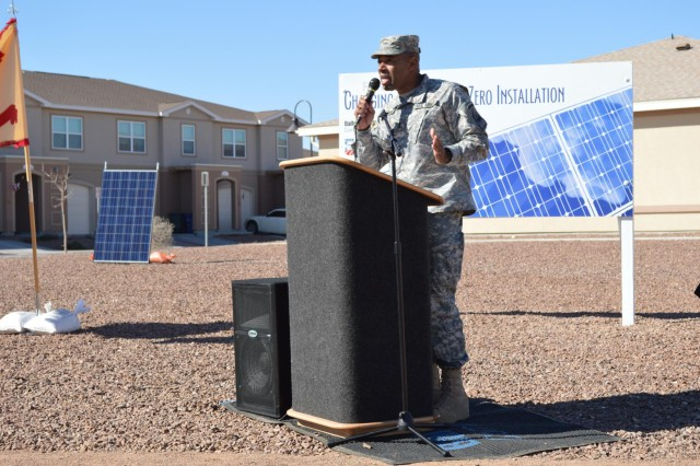 U.S. Army Maj. Gen. Dana J.H. Pittard, 1st Armored Division and Fort Bliss commander, gives a speech during the ribbon cutting for the solar panel project at Fort Bliss, Texas housing communities, Feb. 26, 2013. The completed project, totaling 13.2 megawatts in size, will surpass the largest solar powered community   built to date by 5.2 megawatts.  (U.S. Army photo by Sgt. Barry St. Clair/Released)
