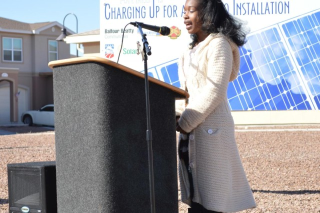 Abba Joplin, a 15 year-old resident of military family housing, delivered a speech at the ribbon cutting for solar energy systems installed on housing units at Fort Bliss, Texas, Feb. 26, 2013.  The completed project, totaling 13.2 megawatts in size, will surpass the largest solar powered community built to date by 5.2 megawatts.