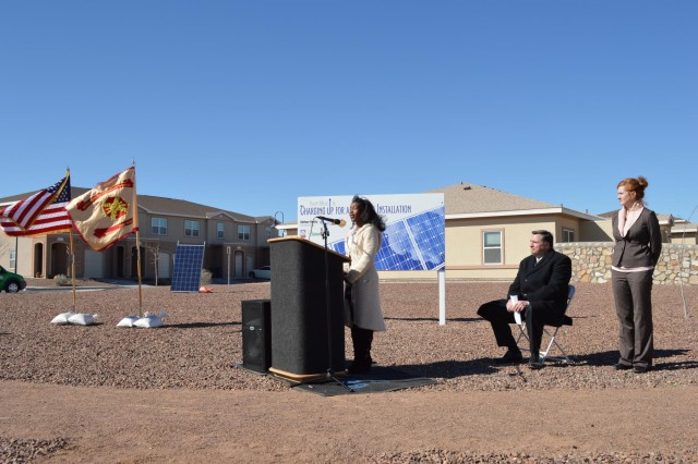 Abba Joplin, a 15 year-old resident of military family housing, delivered a speech at the ribbon cutting for solar energy systems installed on housing units at Fort Bliss, Texas, Feb. 26, 2013.  (U.S. Army photo by Sgt. Barry St. Clair/Released)