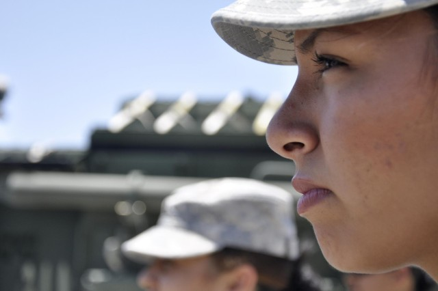 Spc. Kathy Martinez, 1st Brigade Combat Team, 1st Armored Division, is one of 55 female Soldiers who volunteered to deploy with the Female Engagement Team.