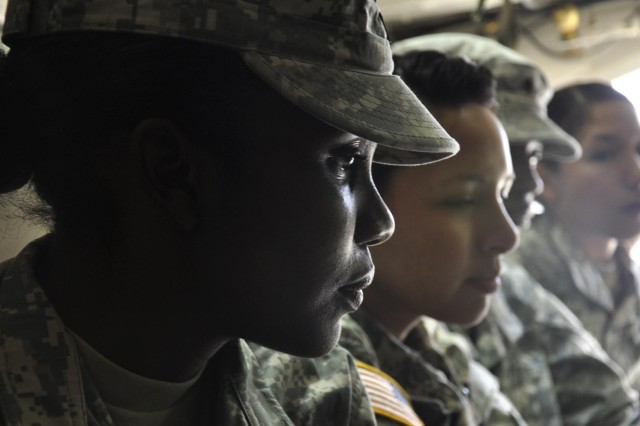Spc. Janae Gaston (left), a native of Goosecreek, S.C., is a intelligence specialist who volunteered to deploy with the first Female Engagement Team to be trained with the 1st Brigade Combat Team, 1st Armored Division, at Fort Bliss, Texas.