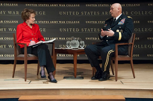 Gen. Raymond T. Odierno, chief of staff of the Army, spoke about a wide-range of topics with NPR Newshour's Margaret Warner as part of the 2013 Army War College Strategy Conference at Carlisle Barracks, Pa. Odierno spoke about the importance of maintaining a proper balance in the Joint Force, the future of the Army and the importance of strong leaders. He also answered questions from the audience.