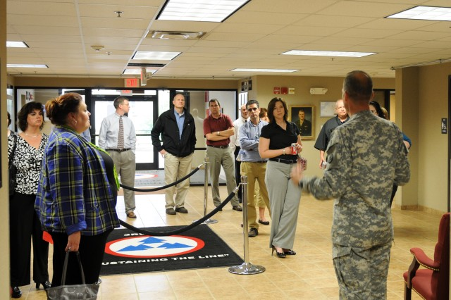 Col. Christopher Wicker, the deputy commanding officer of the 3d Sustainment Command (Expeditionary), briefed key leaders from the Leadership Hardin County Class of 2013 on the community's support to the 3d ESC during deployment and sought to foster future support April 11 during a briefing at Harris Hall. (U.S. Army photo by Sgt. Justin Silvers)