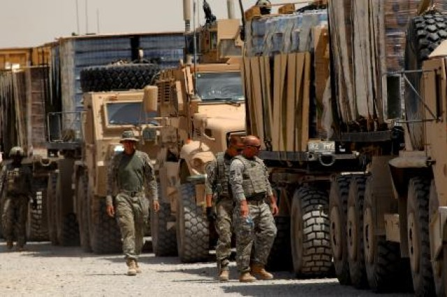 With Joint Capabilities Release Logistics, Soldiers will have improved visualization across the network with the ability to locate and track not only friendly forces and the enemy, but also combat support and combat service support vehicles delivering necessary supplies. Here, members of the U.S. Army's 782nd Alpha and Bravo Company, secure several loads of cargo before moving out on a resupply mission in Afghanistan.