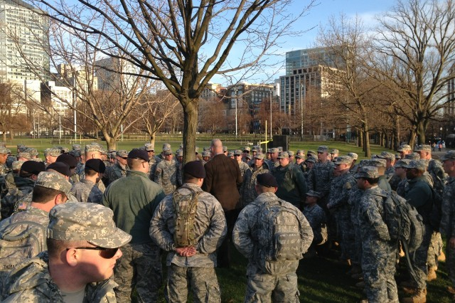 Soldiers and Airmen of the Massachusetts National Guard muster on the Boston Common to receive orders for a coordinated response in support of civilian authorities in the wake of the marathon bombings, April 15 2013.