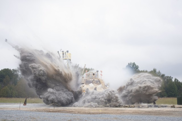 With the growing threat of improvised explosive devices over the past decade, Army researchers have been hard at work testing and evaluating ways to keep Soldiers safe from bomb blasts. Shown is an example of an under-body live-fire test event.