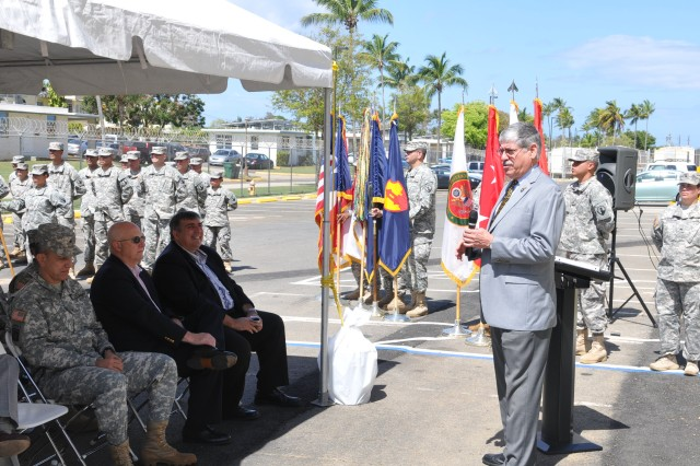 Horacio Cabrera, US Army Reserve Ambassador, addresses the public during the ribbon cutting ceremony of a modern operations center in the closed Ramey Air force Base in Aguadilla, 14 April.