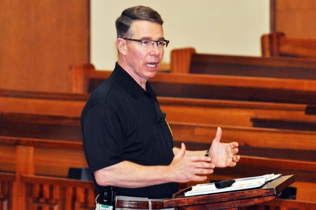 Retired Maj. Gen. Robert F. Dees, former commander of Second Infantry Division, shares his lessons during the Spirit Warrior Men's Conference held at South Post Chapel, April. 12. (U.S. Army photo by Pfc. Lim Hong-seo)