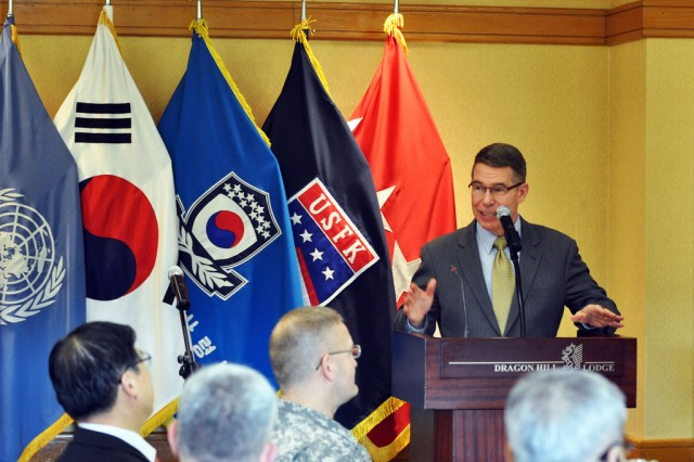 Retired Maj. Gen. Robert F. Dees, former commander of Second Infantry Division, gives his keynote speech during the 2013 National Prayer Breakfast held at Dragon Hill Lodge, April. 12. (U.S. Army photo by Pfc. Lim Hong-seo)