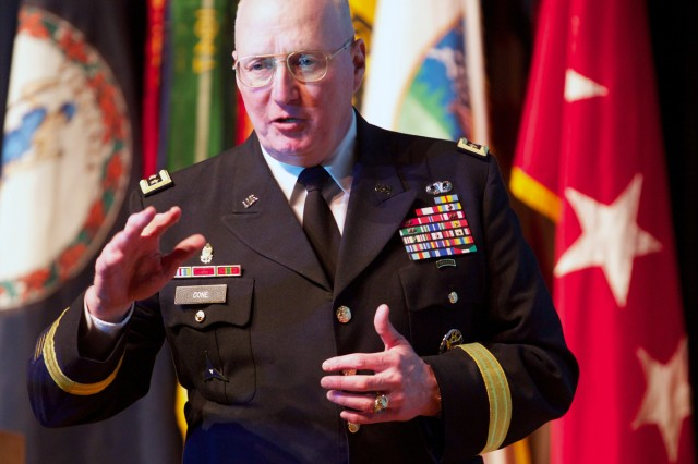 Gen. Robert Cone, commander of the Training and Doctrine Command, address Army ROTC Cadets Tuesday at the closing session of the annual George C. Marshall Awards and Leadership Seminar at Virginia Military Institute. Photo by Steve Arel/U.S. Army Cadet Command