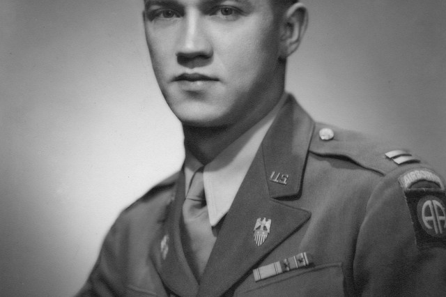 A photo of Capt. Don C. Faith Jr. during World War II, wearing his 82nd Airborne patch. By the end of the war, he was a lieutenant colonel and had earned two Bronze Stars. Eventually he would get the Medal of Honor for his actions in Korea, where he was killed.