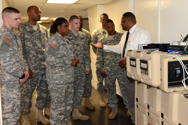 Gary Graves, Program Executive Office Enterprise Information System instructor, shows Soldiers from the 3rd Infantry Regiment (The Old Guard) how the Very Small Aperture Terminal operates during a training session held at Fort Lesley J. McNair, Washington, D.C., April 9, 2013.