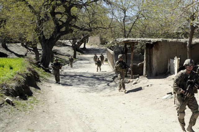 U.S. Army soldiers with 3rd Platoon, Company A, 1st Battalion, 327th Infantry Regiment, 1st Brigade Combat Team, 101st Airborne Division, conduct to a patrol of a local bazaar, March 30, 2013, in Khogyani district, Nangarhar province, Afghanistan. The patrol was part of a five day mission in conjunction with the Afghan National Security Forces. (U.S. Army photo by Sgt. Jon Heinrich, CT 1-101 Public Affairs)