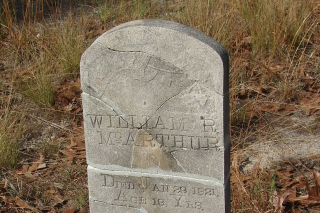 The Fort Bragg Cultural Resources Management Program facilitated the restoration of 104 grave markers in 16 separate cemeteries on Fort Bragg in the wake of a tornado in April 2011. The William McArthur headstone was one monument mended in the project.