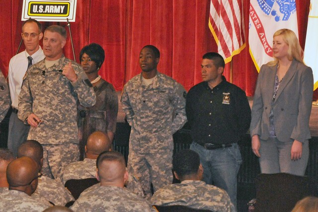 "FORT SAM HOUSTON, Texas "" Sgt. Maj. of the Army Raymond Chandler III recognizes the accomplishments of a group of Soldiers and Department of the Army Civilians during an April 17 town hall meeting at the Fort Sam Houston Theater. He was visiting FSH with Gen. Raymond Odierno, Army Chief of Staff, to speak with Fort Sam Houston's senior leaders, service members and families. Chandler said it is important to recognize people for their accomplishments "" and that it is also important for those being recognized to also understand why they are being recognized."