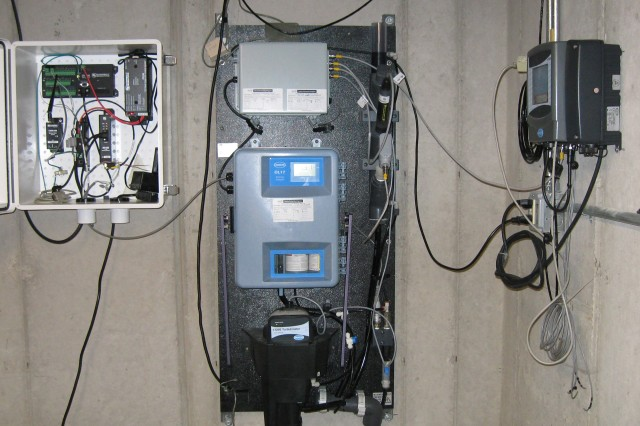 Three water monitoring panels are used to track real-time water pressure and water quality parameters.