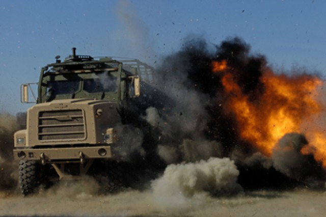 Aberdeen Test Center performs survivability tests to evaluate equipment protectiveness when in contact with improvised explosive devices (IED). Testing is required to support the military efforts in the Middle East. APG's environmental goal is to minimize operational impact resulting from restoration program activities.