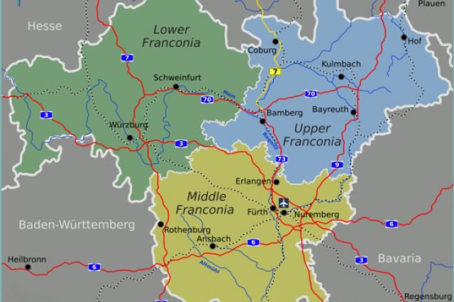 A map of Franconia is divided into its three administrative district. U.S. Army Garrison Schweinfurt is in Lower Franconia, USAG Bamberg is in Upper Franconia and USAG Ansbach is in Middle Franconia.
