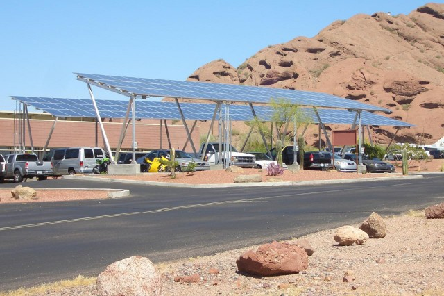 This year the AZARNG opened up a pilot program solar parking lot. The 20-car site provides covered parking for vehicles, and the top of the parking structure is covered in solar panels. The solar array has a capacity of 44.5 kW DC peak, expected to produce 75,000kWh/Year.