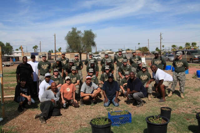 Arizona National Guard Soldiers and Sustainability specialists work with the community in setting up a local garden. Community outreach is a core component of Coleman's sustainability efforts. In addition to the ASU partnership, Coleman has established strong collaborative relationships with Northern Arizona University, the Arizona Air and Water Trust, the Western Regional Partnership, a coalition of federal, state, and defense agencies involves in sustainability issues, the Arizona Water Association, and the Pinal County Partnership, among others.