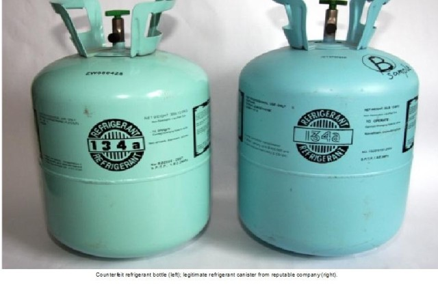 Counterfeit refrigerant bottle (left); legitimate refrigerant canister from reputable company (right).