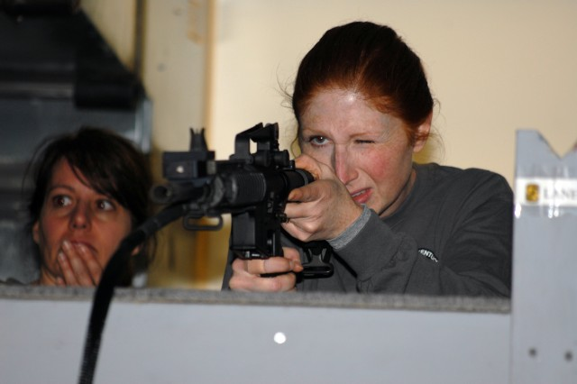 The engagement skills trainer was a challenge for many spouses unfamiliar with weapons, but this event was the favorite of many.