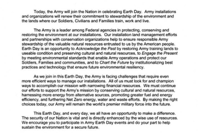 This tri-signed message from the Sergeant Major of the Army, Chief of Staff of the Army and Secretary of the Army reiterates the importance of making every day Earth Day within the Army.  Army Green is Army strong!