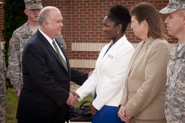 Under Secretary of the Army, Joseph W. Westphal recognizes Fort Lee personnel for their service and dedication to training and developing military members at Fort Lee, Va., 18 April 2013.