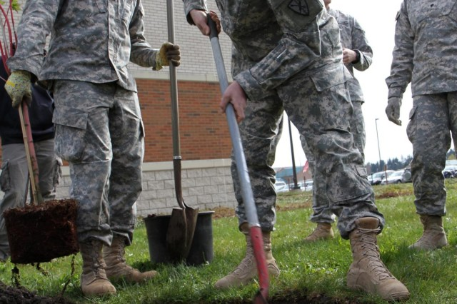 U.S. Army Sgt. 1st Class Scott Swieda with the Headquarters and Headquarters Company, 508th Military Police Battalion, digs a hole to plant a tree outside the John D. Hawk Education Center at Joint Base Lewis-McChord, Wash., April 17, 2013.  (U.S. Army photo by Sgt. Jennifer Spradlin/Released)