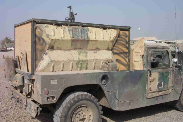 Soldiers used creative ways to add armor to their humvees prior to the arrival of the armor survivability kits.