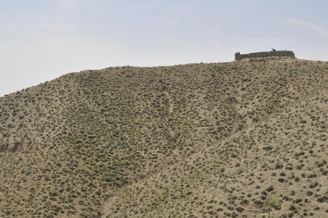 A newly established Afghan Border Police checkpoint, built to block an insurgent infiltration route, is located on the high ground of a mountain near the Afghanistan-Pakistan border in the Spin Boldak district of Kandahar province, Afghanistan, April 1, 2013. (U.S. Army photo by Staff Sgt. Shane Hamann/Released)