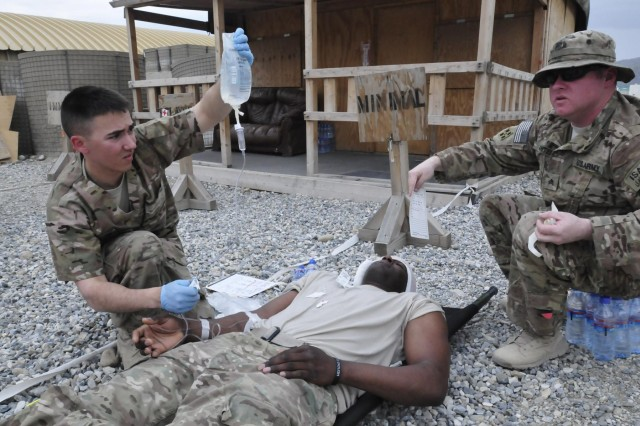 Spc. Justin Jones (left), a health care specialist and native of Denham Springs, La., and Sgt. Terry Antee, a radiology specialist and native of Wichita Falls, Texas, provide medical attention to a simulated casualty during a mass casualty exercise at the troop medical center on Forward Operating Base Gamberi, Afghanistan, April 8, 2013. Both are assigned to Company C, 27th Brigade Support Battalion, 4th Brigade Combat Team, 1st Cavalry Division, based out of Fort Hood, Texas.