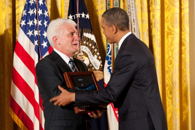 President Barack Obama awarded the Medal of Honor posthumously to Army chaplain (Capt.) Emil J. Kapaun at the White House, April 11, 2013. Here, Kapaun's nephew, Ray Kapaun, accepts it on his behalf.