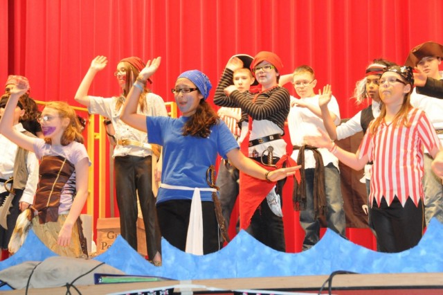 "Sixth grade pirates dance and sing during the Hohenfels Elementary School's production of ""Pirates! the musical,"" recently."