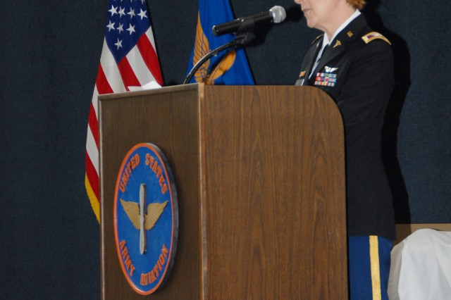 Col. Dana K. Renta gives the keynote address at the 2013 Women's History Month Celebration/Women of the Year Ceremony 28 March.