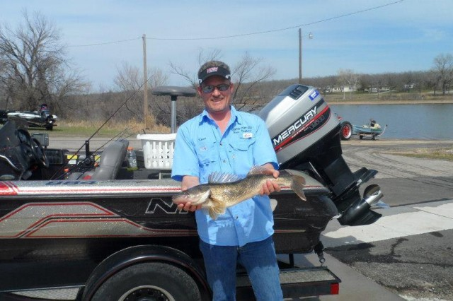 Sean Rietcheck uses both hands to display the walleye he took April 6. The Lawton/Fort Sill Bass Anglers competed for the best bass fishing at several lakes April 6, 2013. The club is open to new members. For more information visit its Facebook page.
