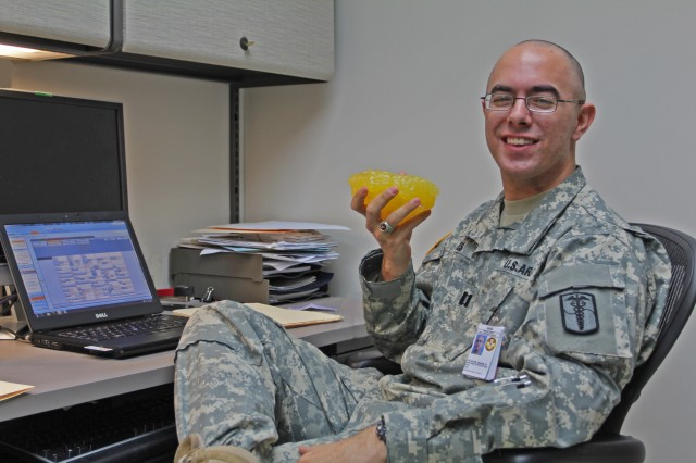 Capt. Michael Noyes is one of the registered dietitians at Brian A. Allgood Community Hospital, at Yongsan Garrison, who routinely visit Camp Humphreys Health Clinic to work with Soldiers, civilians and family members regarding nutrition related conditions.