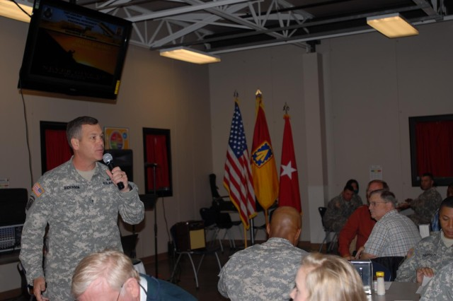 Brig. Gen. James H. Dickinson, 32nd Army and Air Missile Defense Command commander, spoke to those who gathered on the importance of resiliency during the 108th Air Defense Artillery Brigade Spiritual Prayer Breakfast April 23, 2013, at the Spartan dining facility.