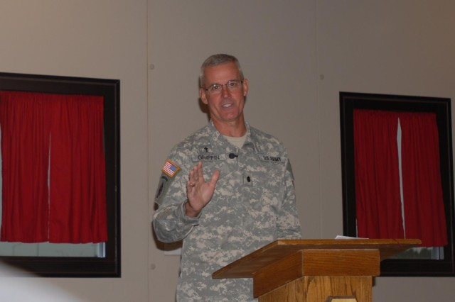 Lt. Col. Randy Griffin, a chaplain with the 82nd Airborne Division, addresses the crowd assembled for the 108th Air Defense Artillery Brigade Spiritual Prayer Breakfast April 23, 2013, at the Spartan dining facility. Griffin offered words of encouragement and hope.