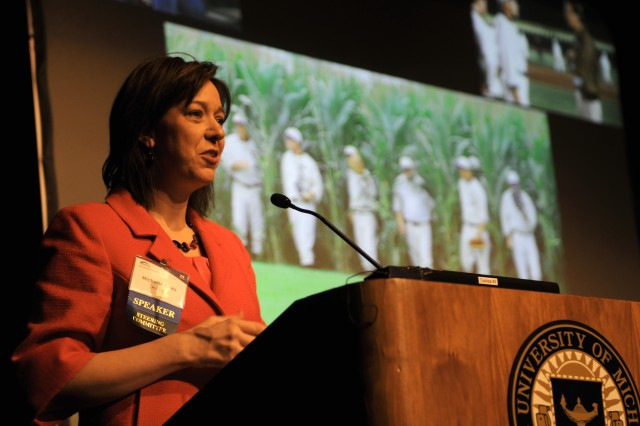 Dr. Michelle Kees, an assistant professor in child and adolescent psychiatry at the University of Michigan, Ann Arbor, Mich., gives a speech during the National Reserach Summit on Reserve Component Military Families in Ann Arbor, April 25-26, 2013.